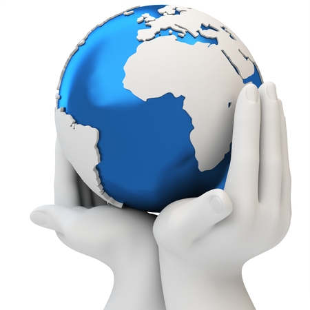hands holding globe: 3d hands holding a blue earth globe, protection concept on white  Stock Photo