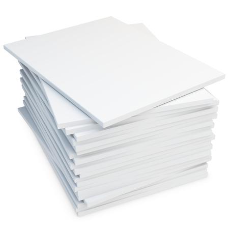 3d stapel lege catalogi of tijdschriften op wit Stockfoto