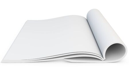 catalog: 3d model of blank opened magazine on white