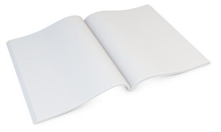 magazine stack: 3d blank open magazine on white  Stock Photo