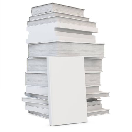 noname: 3d stack of blank books cover, studying illustration. Back to school concept on white