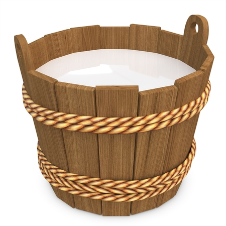 3d wooden bucket with milk on white