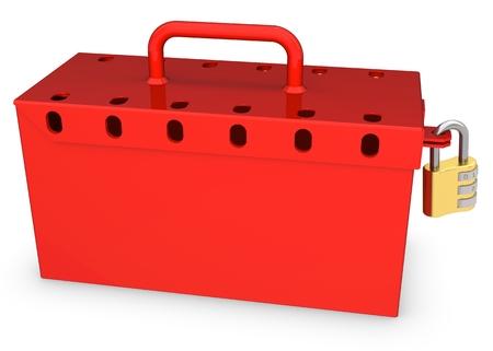 low prizes: 3d rojo caja cerrada con candado de oro sobre fondo blanco