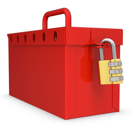 3d red locked box with golden padlock on white background photo