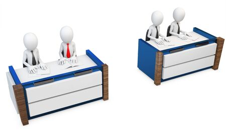 trial: 3d man lawyers at trial jury on white background
