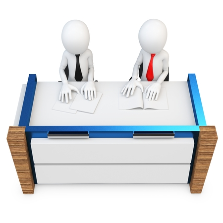 conference call: 3d man support people working at desk on white background