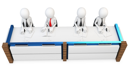jury: 3d man at contest jury table isolated on white