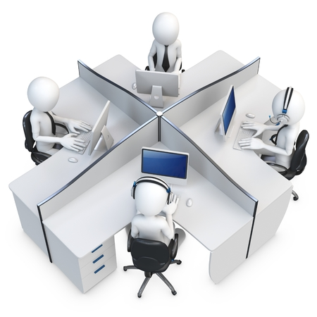 cubicle: 3d man support center cubicle team working  Stock Photo