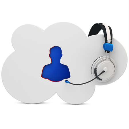 earbud: 3d cloud user support, help line on white background