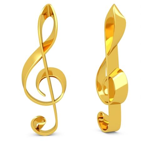 白い背景の上の金で作られた 3 d の高音部記号
