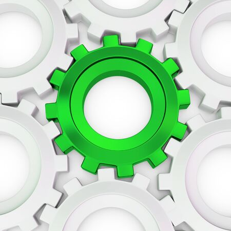 cogwheels: 3d green cog with white crowd on white background
