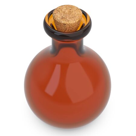 3d empty amber potion flask on white background photo