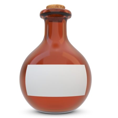 3d amber potion flask with blank label on white background photo