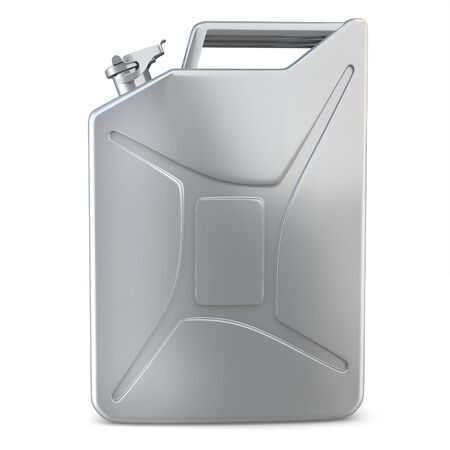 3d metallic jerry can on white background photo