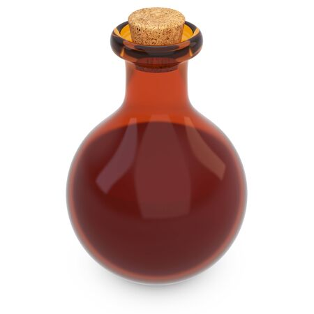 3d amber potion flask on white background photo