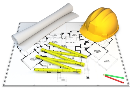 3d Construction Concept Blueprints Pencils And Hard Hat Photo