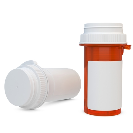 bottle label: 3d amber plastic medical container for pills or capsules. Blank for label on white background