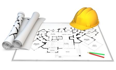 3d construction concept. Hardhat, generic blueprints and pencils photo