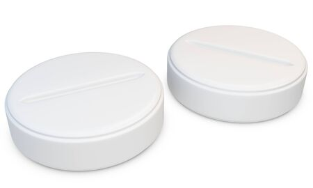 aspirin: 3d blank generic pills on white
