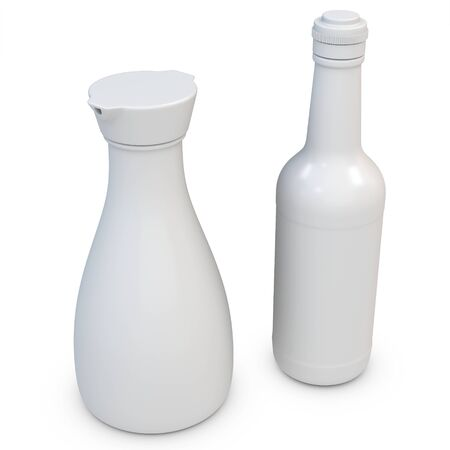 3d blank bottles on white background photo