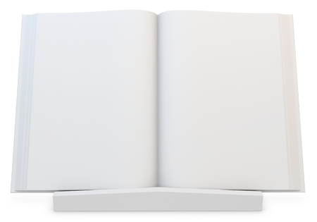3d  blank open  book with stand on white background photo