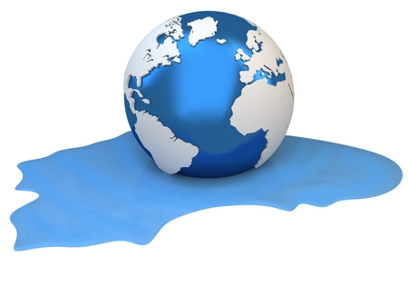 liquefy: 3d Earth globe melting into water on white background