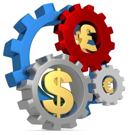 3d Gears with dollar, pound and euro signs on white background photo