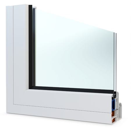 hermetic: 3d cut of window profile with glass surface on white background
