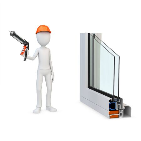 caulk: 3d man Construction worker with a caulking gun and window profile on white background Stock Photo