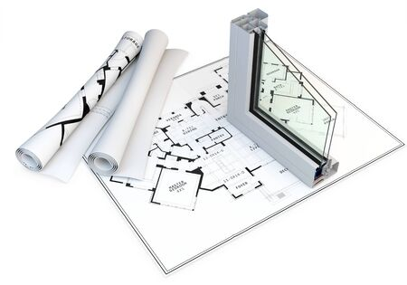 hermetic: 3d cut of window profile and blueprints on white background
