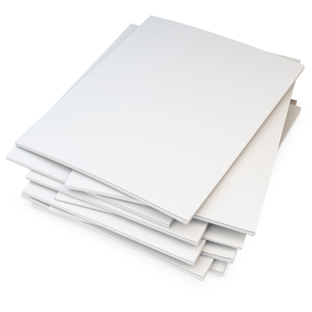 3d stack of blank catalogs, magazines on white background