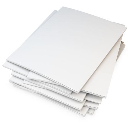 3d stapel lege catalogi, tijdschriften op een witte achtergrond