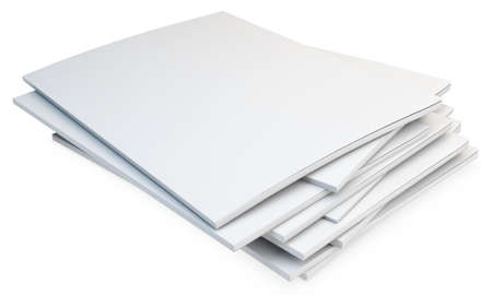 catalogs: 3d stack of blank catalogs, magazines on white background