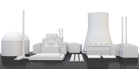 3d nuclear Power Plant on white background photo