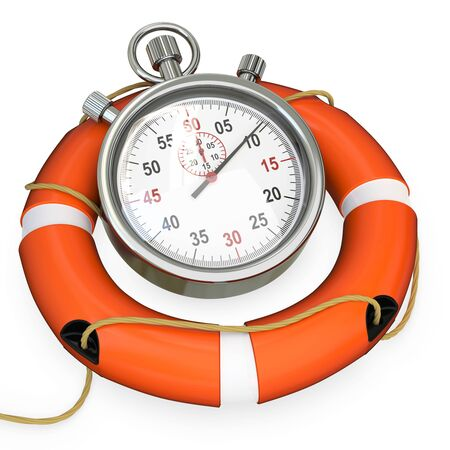 save time: 3d lifebuoy with stopwatch, save time concept on white background Stock Photo