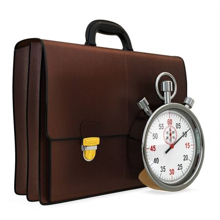 3d briefcase and stopwatch on white background photo