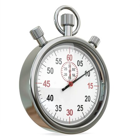 3d Stopwatch, time concept isolated on a white background photo