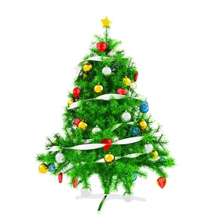 3d Christmas tree on white background photo