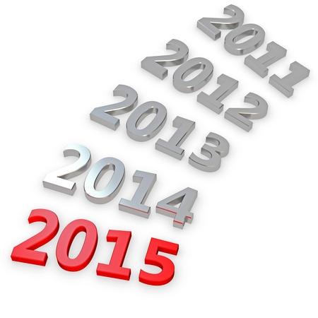 3d Gelukkig Nieuwjaar 2015 op een witte achtergrond