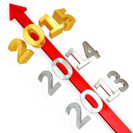 upturn: 3D red  arrow with year 2015 on white background Stock Photo