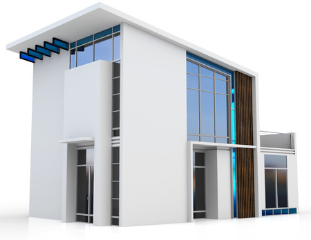 3d modern house on white background