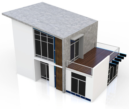 luxury house exterior: 3d modern house on white background