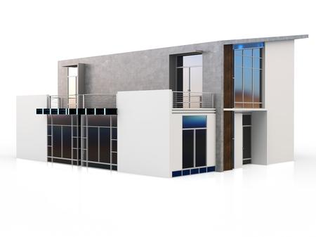 duplex: 3d modern duplex house on white background