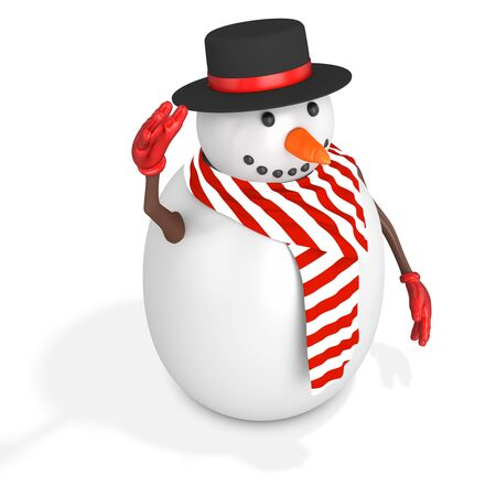 3d cute snowman with hat on white background photo