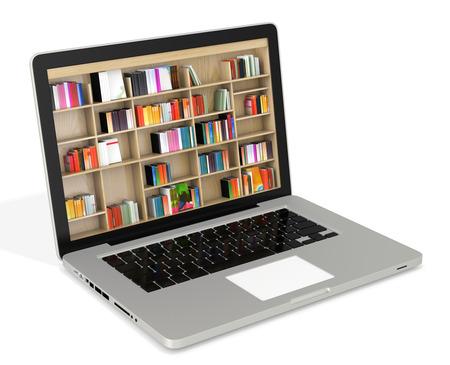 3d ordinateur portable avec des étagères de livres, la bibliothèque numérique Internet