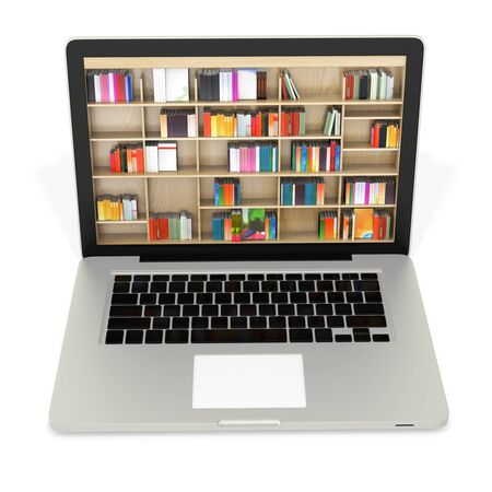 digital library: 3d laptop with book shelves, digital internet library