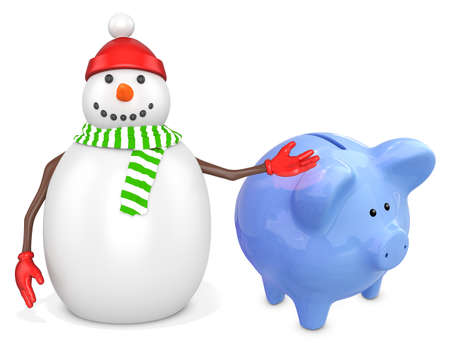 piggybank: 3d snowman with a piggy bank  on white background