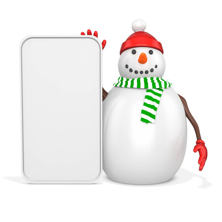 3d snowman with big blank banner  on white background photo