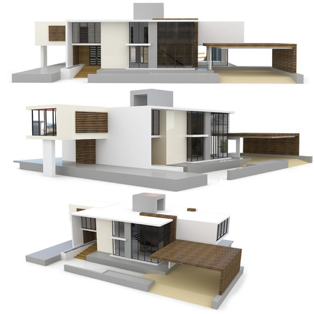 modern house exterior: 3d modern house collection on white background
