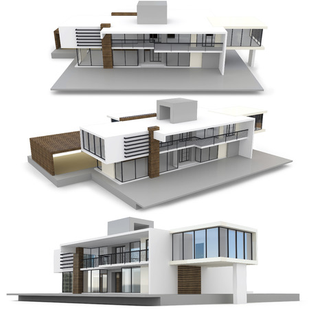 3d Modern Duplex House On White Background Stock Photo Picture And